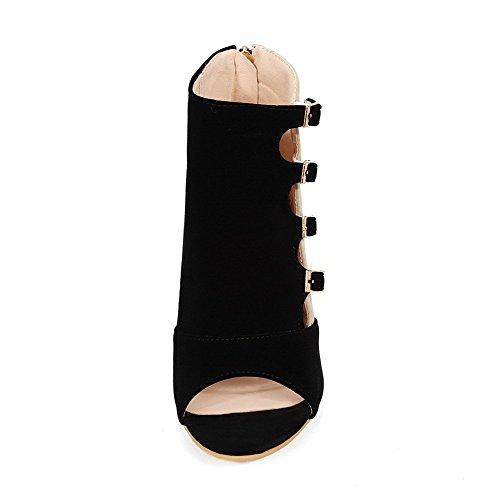 AllhqFashion Mujeres Cremallera Tacón de aguja Gamuza(Imitado) Sólido Puntera Abierta Sandalia Negro