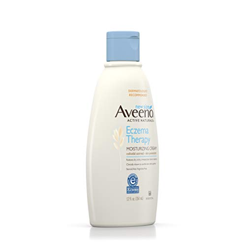 Aveeno Eczema Therapy Daily Moisturizing Cream for Sensitive Skin, Soothing Lotion with Colloidal Oatmeal for Dry, Itchy, and Irritated Skin, Steroid-Free and Fragrance-Free, 12 oz