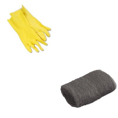 KITBWK242LGMA117002 - Value Kit - Global Material Technologies Industrial-Quality Steel Wool Hand Pad (GMA117002) and Galaxy 242L Yellow Reusable Flock Lined Gloves, Large (BWK242L)