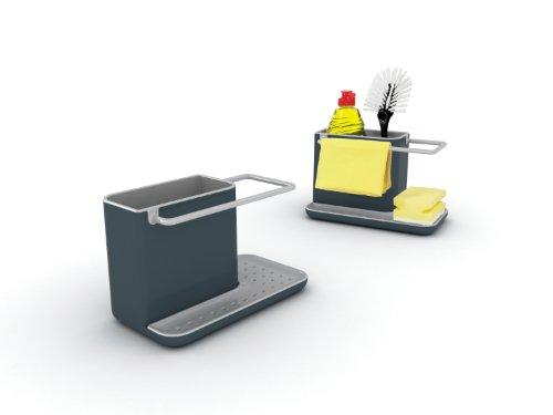 Joseph Joseph 85022 Sink Caddy Kitchen Sink Organizer Holder for Dish Soap Sponge Brush Holder Drains Water Dishwasher-Safe, Regular, Gray
