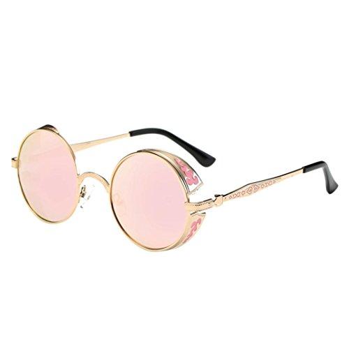 Price comparison product image LNGRY Women Men Summer Vintage Retro Round Gradient Color Glasses Unisex Fashion Aviator Mirror Lens Travel Sunglasses (Pink)