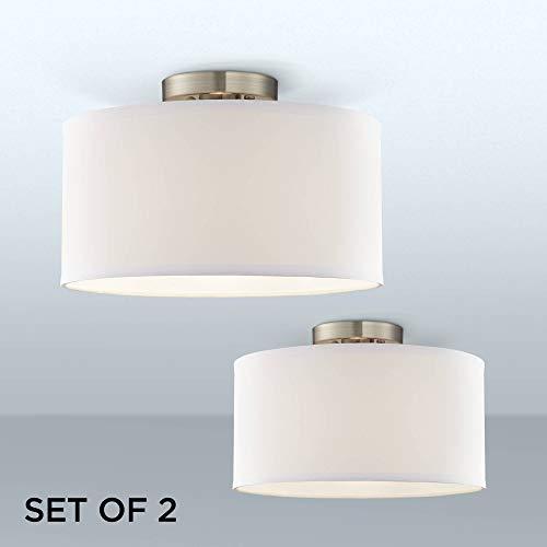 Adams White Fabric Drum Shade Ceiling Lights Set of 2-360 Lighting Drum Shade Ceiling Light