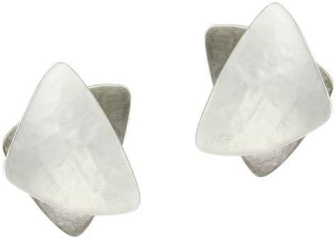 Marjorie Baer Stacked Triangle Clip Earring in Silver and Antique Silver