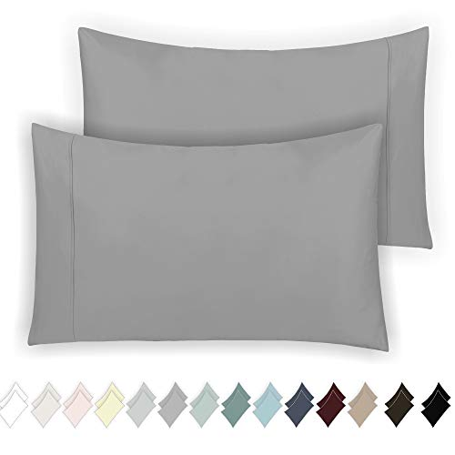 California Design Den 400 Thread Count 100% Cotton Pillow Cases, Smoked Pearl Standard Pillowcase Set of 2, Long - Staple Combed Pure Natural Cotton Pillowcase, Soft & Silky Sateen Weave