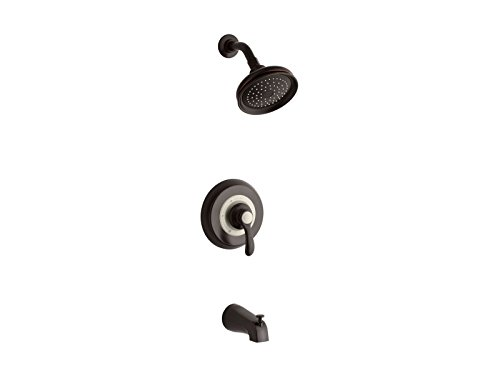 Kohler TS12007-4S-2BZ K-TS12007-4S-2BZ Fairfax Rite-Temp Bath and Shower Valve Trim with Lever Handle, Slip-fit spout and 2.5 gpm showerhead Oil-Rubbed Bronze ()