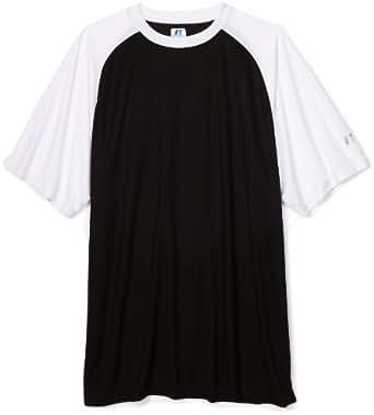 Russell Athletic Men's Big & Tall Dri-power Contrast Raglan Short Sleeve Shirt, Black/White, 2X-Tall