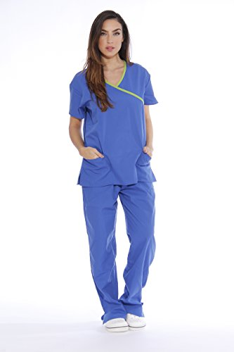 Just Love Women's Scrub Sets Medical Nursing Scrubs,Royal Blue With Lime Trim,2X