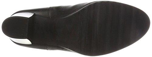 Mujer Botas Stiefelette Schwarz Bianco Plateau Black para fIwEfUOxqn
