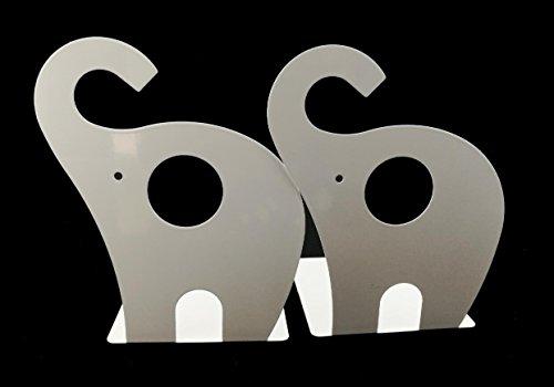 Winterworm Cartoon Cute Elephant Pattern Nonskid Metal Office Desk Bookends (White) ()
