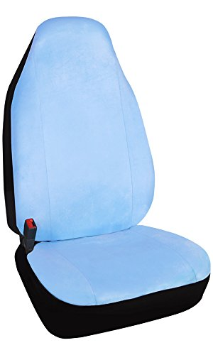 Blue Seat Cover Front (Leader Accessories Soft Velour One Car Front Seat Cover with Airbag,Light Blue,Universal Fit High Back Seat Protector)