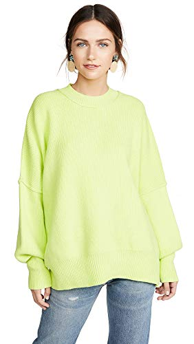Free People Women's Easy Street Tunic Sweater, Lime, Green, Large