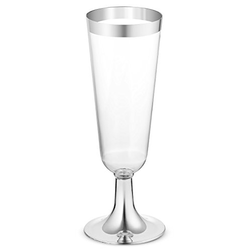 (50 Plastic Silver Rimmed Champagne Flutes | 5.5 oz. Clear Hard Disposable Party & Wedding Cups | Premium Heavy Duty Fancy Champagne Flute or Toasting Glasses (50-Pack) Silver by Bloomingoods)