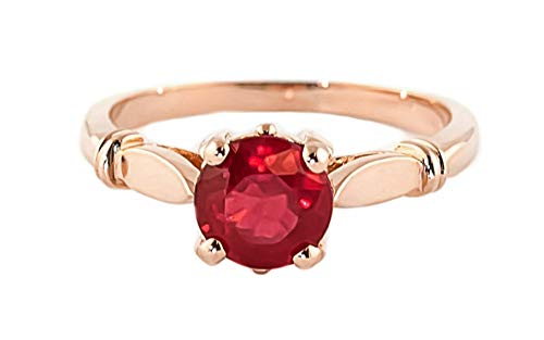 Galaxy Gold 14K Solid Rose Gold Solitaire 2 Carat Natural Ruby Ring - Size 9.5