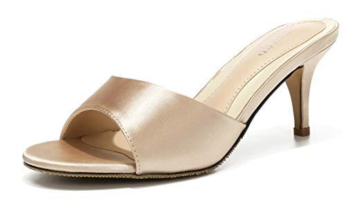 WSKEISP Womens Low Heel Mule Slingback Open Toe Kitten Heels Slip On Slide Sandals Champagne US6.5 EU37