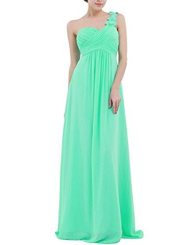 YiZYiF Chiffon Applique One Shoulder Long Bridesmaids Party Dress Turquoise 6