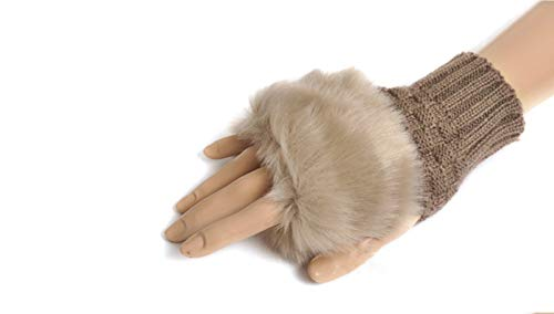 Winter Fingerless Short Touchscreen Gloves Thumb Hole Mittens Knitted Warm Gloves with Faux Fur Khaki from Knight Horse
