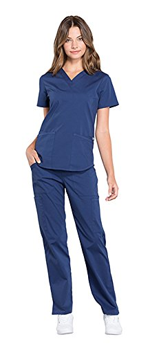 Cherokee Workwear Professionals Women's V-Neck Top WW665 & Women's Pull-On Cargo Pant WW170 Scrub Set (Navy - Medium) (Set Cherokee)