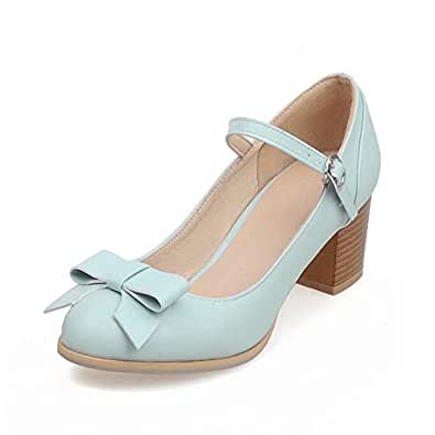BalaMasa Womens Bows Solid Casual Blue Urethane Pumps Shoes APL10554-4.5 B(M) US