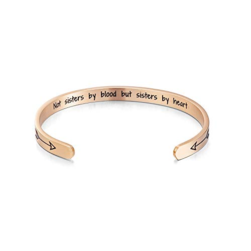 Sunflower Jewellery Cuff Bangle Bracelet Not Sisters by Blood But Sisters by Heart Stainless Steel Inspirational Jewelry Rose Gold