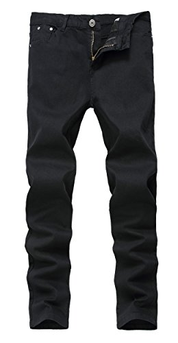 Mens Black Skinny Slim Fit Stretch Straight Leg Fashion Jeans Pants, Black, 32W