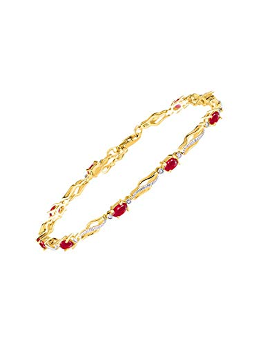 Stunning Ruby & Diamond Tennis Bracelet Set in Yellow Gold Plated Silver - Adjustable to fit 7