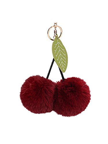 FORESTIME 8CM Cute Cherry Leaves Keychain Pendant Women Key Ring Holder Pompoms Key Chains (Wine Red) - Forest Cherry Wine
