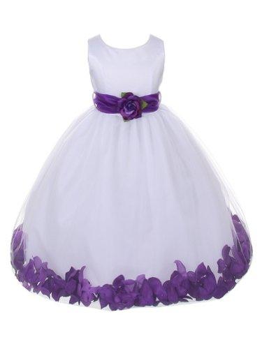 WonderfulDress White Bridal Satin Bodice with Petal Tulle...