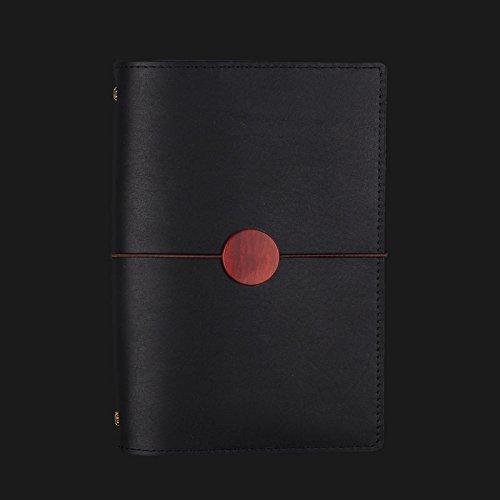 noir -B-A5  GN&LM Le bloc-notes en cuir de vache à la main, rétro, journal, Affaires 15mm main feuille rouge,compte -A6