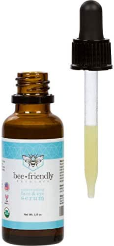 Organic Face & Eye Serum By BeeFriendly, Anti Aging, Deep Penetrating Hydration, Rejuvenates, Nourishes, Tightens, Brightens and Lifts Facial Skin, USDA Certified & All Natural, 1 oz