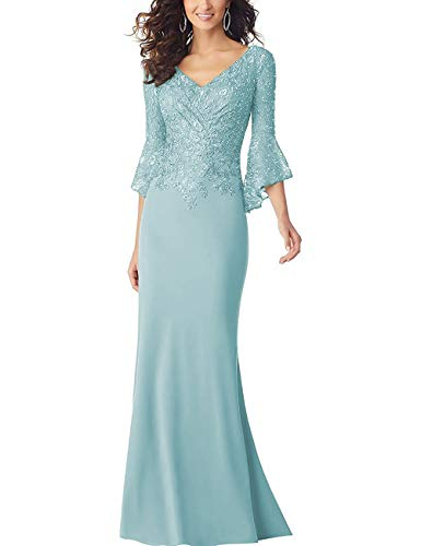 PearlBridal Women's Bodycon Mermaid Mother of The Bride Dresses Lace Ruffle Sleeves Long Evening Party Gown Sky Blue Size 16