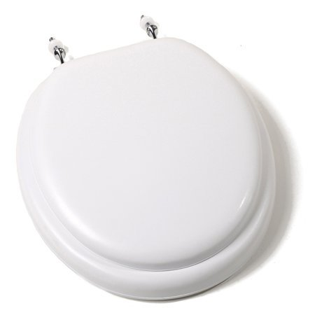 Comfort Seats C1B5R2-00CH Deluxe Soft Toilet Seat with Wood Cores and Chrome Hinges, Round, White