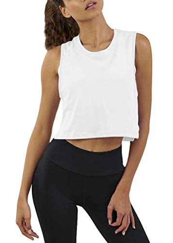 (Mippo Womens High Neck Mesh Crop Tank Top Solid Basic Color Casual Lightweight T Shirts Athletic Activewear for Women White S)