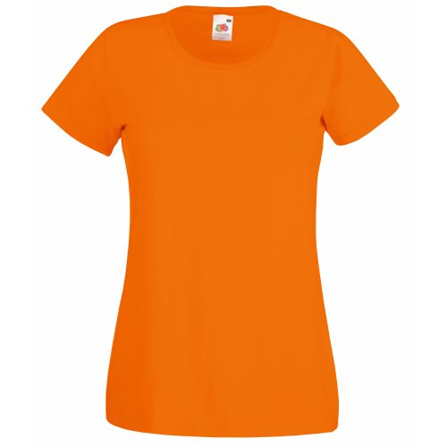 Fruit Of The Loom- Camiseta de manga corta Valueweight para mujer Naranja