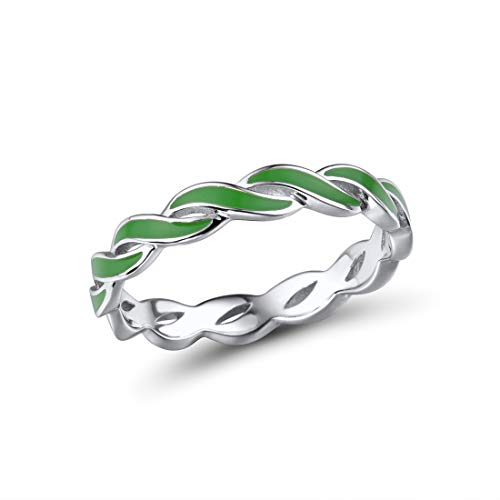 Santuzza 925 Sterling Silver Ring Handmade Enamel Colorful Twisted Stackable Rings Eternity Rings (Green, 8)