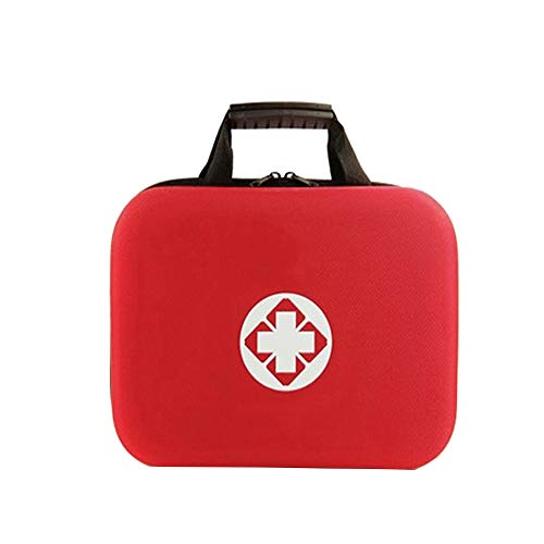 - First Aid Kit Empty Medical Bag Box with Hard Outer Casing Medicine Storage Bag Portable Emergency Medical Package for Home Outdoor Hiking Travel Cycling Camping (Red-B)