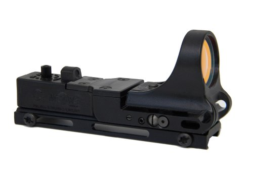 Black Standard Switch - C-MORE Systems Railway Red Dot Sight with Standard Switch, Black, 12 MOA
