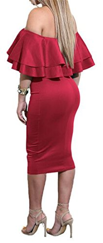 Pencil Solid Cromoncent Mid Color Womens Bodycon Red Stretch Off Dress Shoulder Wine 1wBUFqTA