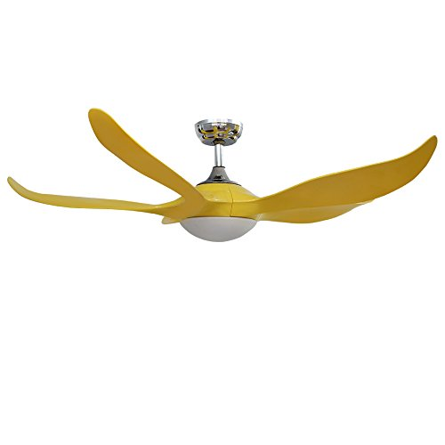 Akronfire Unique Ceiling Fan ABS Curved Blade with Remote Control for Living Room Dining Room Bedroom, Yellow Finish 52 In ()