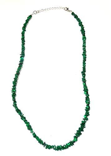 Green resin chip imitation malachite necklace (1548)