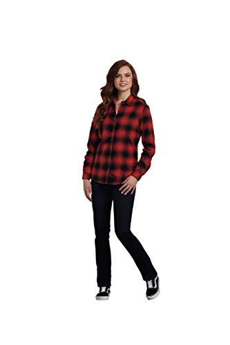 - Dickies Women's Long-Sleeve Plaid Flannel Shirt, English red/Ink Navy, XL