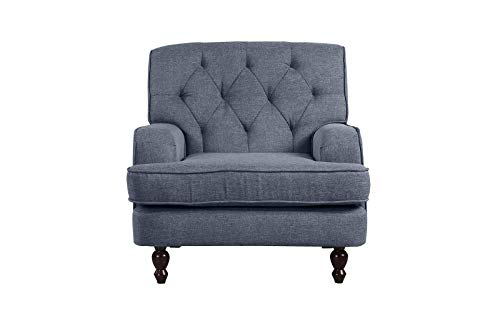 Modern Tufted Fabric Living Room Armchair (Light Grey)