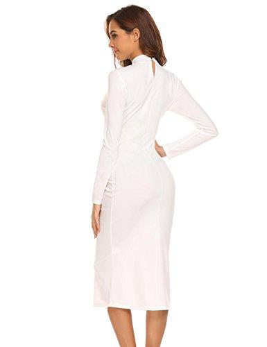 Col Blanc Casual Irrégulière Rétro Solide Bodycon Sexy Femme Slim Acevog Robe wqXvAx4nF