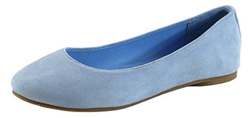 Bella Marie Femme Classique Slip-on Fermé Ballet Bout Rond Flat Light Blue