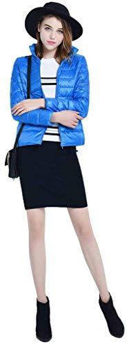 Tasche Pfauenblau Piumino 88 Laterali Coreana Lunga Caldo Invernali Especial Monocromo Leggero Qualità Con Estilo Manica Giacca Cerniera Di Bobo Donna Collo Outwear Alta Trapuntata g058Aqqn
