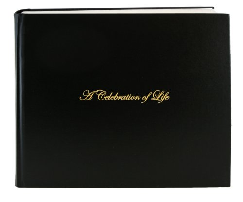"BookFactory® Leather Funeral Guest Book ""A Celebration of Life"" / Memorial Book / Memorial Guest Book / Funeral Register Books - 48 Pages, Black (Bonded Leather), 8 7/8"" x 7"", Smyth Sewn Hardbound (LOG-048-97CS-AKT64-(FUNERAL-REG))"