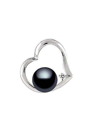 14K Or Blanc Pendentif en forme de cœur Noir diamant perle de culture Akoya de qualité AAA (6,5-7mm)