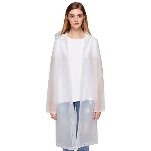 (UNIQUEBELLA EVA Raincoat Waterproof Rain Poncho Reusable Unisex Men Women Long Rain Cape M)