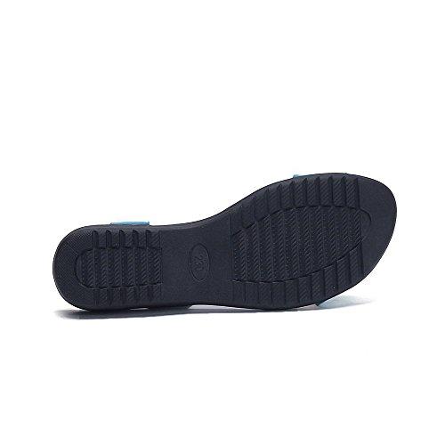 Allhqfashion Kvinners Lave Hæler Lakk Faste Elastiske Åpen Sandaler Blå