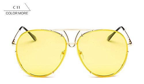 ZHANGYUSEN nuevo gafas mujeres claro sol bastidor sobredimensionado reborde sol mujer sin gafas Señoras de de Oro claro azul para grande Amarillo piloto plata aaxzf0
