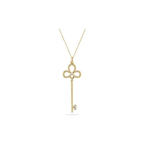 0.01-0.02 Cts SI2 - I1 clarity and I-J color Diamond Clover Key Pendant in 14K Yellow Gold Diamond Clover Key Pendant